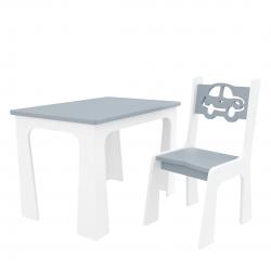 Meble dla dzieci | Krzesełko i Stolik dla dziecka Producent Autko Szare - image | marSELL24.eu