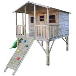 Domki | Drewniany Domek Ogrodowy Gucio + Ścianka Wspinaczkowa i Ślizg - image | marSELL24.eu