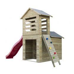 Domki | Drewniany Domek Dla Dzieci Robert Ślizg + Ścianka - image | marSELL24.eu