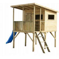 Domki | Drewniany Domek Ogrodowy ROBINSON + ślizg BLUE - image | marSELL24.eu