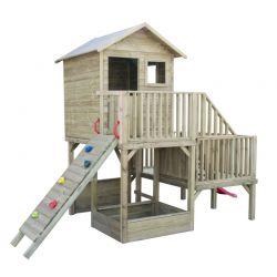 Domki | Domek Ogrodowy Dla Dzieci Hubert ze Ścianką Wspinaczkową i Ślizgiem K-60 - image | marSELL24.eu