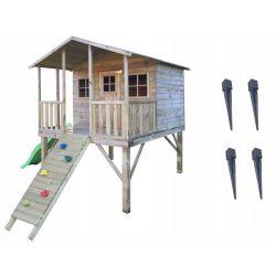 Domki | Drewniany Domek Ogrodowy Gucio + Ślizg, Ścianka Wspinaczkowa oraz Zestaw Kotew - image | marSELL24.eu
