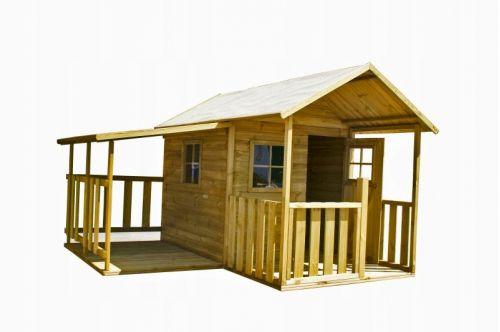 Domki   BLANKA z Garażem Drewniany Domek dla Dzieci od 4iQ - image   marSELL24.eu