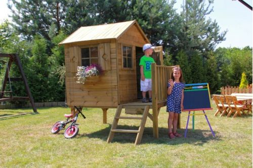 Domki do ogrodu | Drewniany Domek Ogrodowy dla Dzieci TOMEK + ŚLIZG - image 4 | marSELL24.eu