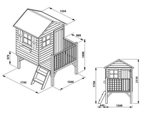 Domki do ogrodu | Drewniany Domek Ogrodowy dla Dzieci TOMEK + ŚLIZG - image 2 | marSELL24.eu