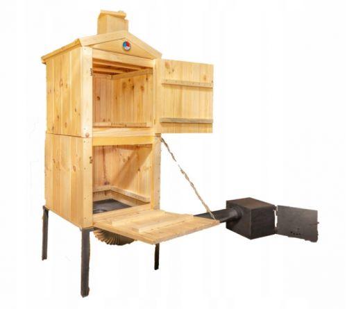 Wędzarnie | Wędzarnia Ogrodowa 180cm Drewniana Komin Duża 60x60x190 - image | marSELL24.eu