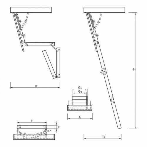 Schody strychowe | Schody Strychowe EXTRA 46mm, 100x80 80x100 +GRATIS - image 4 | marSELL24.eu