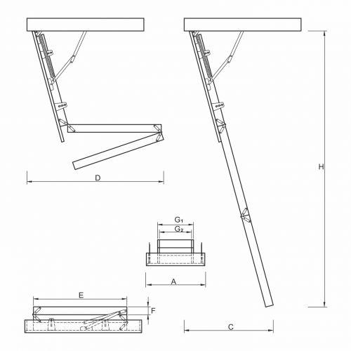 Schody strychowe   Schody Strychowe EXTRA 46 mm,130x80 80x130 PORĘCZ - image 3   marSELL24.eu