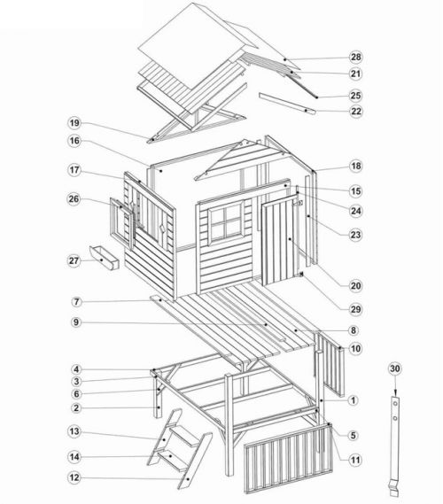 Domki do ogrodu | Drewniany Domek Ogrodowy dla Dzieci TOMEK + ŚLIZG - image 3 | marSELL24.eu