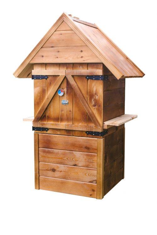 Wędzarnie | Wędzarnia Ogrodowa Drewniana Komin Duża Eko 60x60x150 Domowe Wedliny + palenisko + przyprawy - image | marSELL24.eu